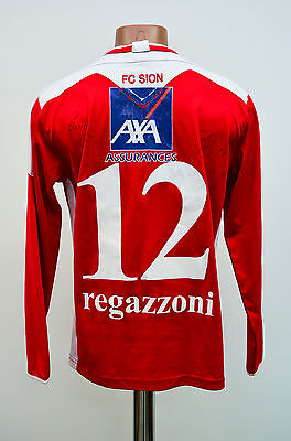 Sion Switzerland Signed Home Football Shirt Jersey Maglia Macron Regazzoni #12
