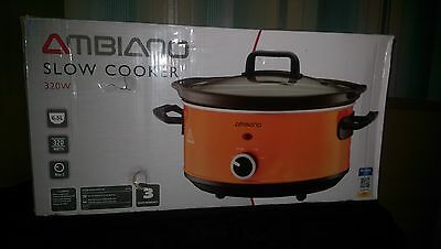 Ambiano 6.5Ltr Large Slow Cooker Pot + Removable Ceramic Inner Bowl Orange