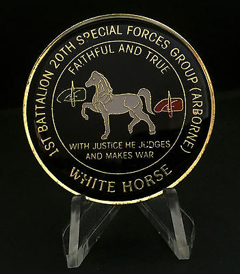20th Special Forces Airborne 1st Battalion Green Beret Whit Horse Challenge Coin