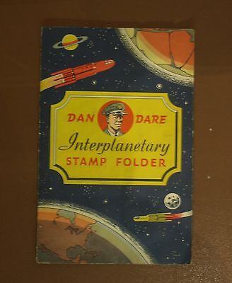 Rare old 1950s Dan Dare Interplanetary stamp folder containing 32 stamps