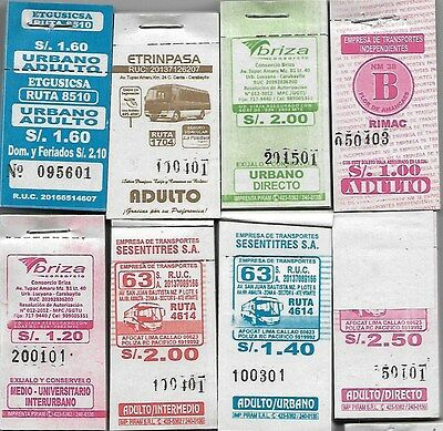 Peru Ticket 8 counterfoil of Bus Lot 20