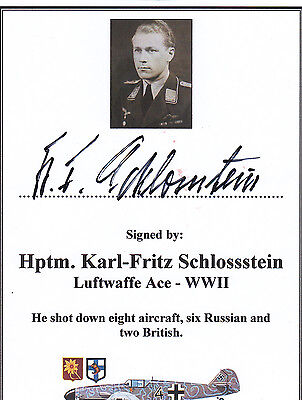 SIGNED Bookplate/Card - WWII Luftwaffe Ace Schlossstein (8 Vict)
