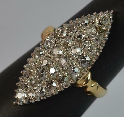 Victorian 18ct Gold 1.00 Carat Old Cut Diamond Navette Cluster Ring d0697
