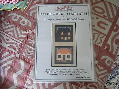 """Vintage Patchwork Quilting  Templates Creative Grids 12"""" English House & Cottage"""