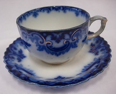 W H Grindley England 'clifton' Flow Blue Cup And Saucer