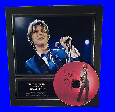 David Bowie Signed Mounted Photo Display, Autographed CD pre-print brand new