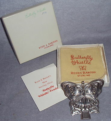 Reed Barton Sterling Silver Butterfly Whistle Christmas Ornament Pendant Gift