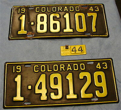 Colorado License Plates ---3 Plates in Lot---1943--1943 and 1944 Metal Date Tag