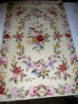 Vintage Needlepoint Floral ROSES Piano Bench Window Seat Cover 22.5 X 34 beige