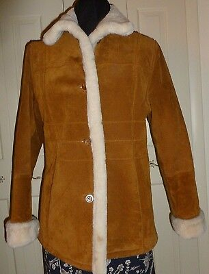 Winter Coat.Medium.Faux Shearling Lined Leather Jacket.Brown Suede.Cream Fur