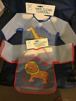 Large Wipe Clean Baby Bib Toddler Plastic Bib Coverall Red Blue With Arms Dinner