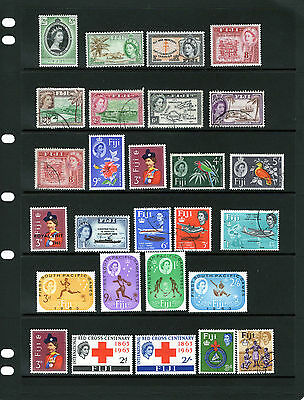 FIJI , QEII Defins& Commen. sets , values to 5/-,mixed Mtd MINT /Used