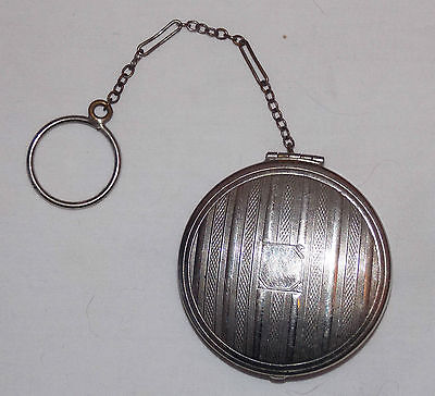 Chatelaine Compact Powder Case with Watch Chain and Loop Antique Ca 1910