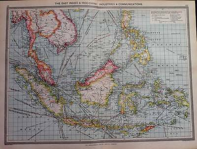 Antique Maps colour THE EAST INDIES -BORNEO - SUMATRA & JAVA - PHILIPPINES c1906