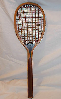 """""""Star"""" Wooden Tennis Racquet with Wood Grip Handle Circa 1920 Vintage"""