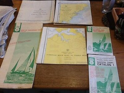 LOT of 6 VTG Nautical Charts great condition