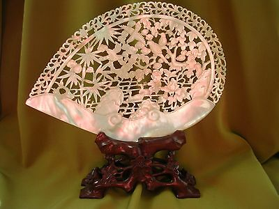 Beautiful Antique Chinese Carved Mother Of Pearl Shell