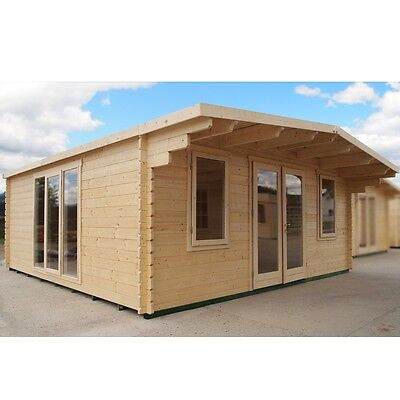 5.6m x 5.6m 18ft x 18ft 44mm Thick Log Cabin Garden Room Home Office Cambridge