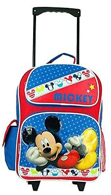 """Disney Mickey Mouse 16"""" Canvas School Large Rolling Backpack-"""