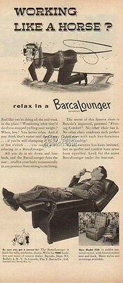 1954 BarcaLounger Recliner 1950s Barca Lounger Chair Working Like Horse Ad MMXV
