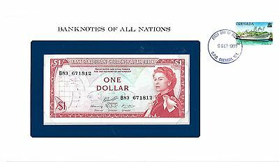 Banknotes of all Nations East Caribbean  $1.00 1965 Pick #  13g Gem UNC. QE2