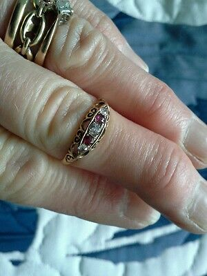 Beautiful 18ct victorian gypsy style ring set with lovely diamonds and rubies