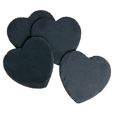 Set of 4 piece,11x11cm Natural Slate Heart Table Coaster Wine Glass Valentine's