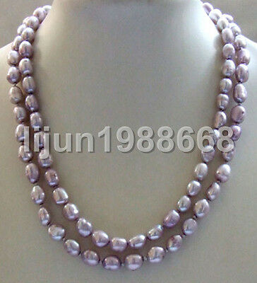 "nature 34"" purple baroque freeform nugget freshwater pearl necklace 8-9mm"