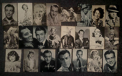 Lot Of 23 Vintage Photogravure Postcards Of 1930's Film Stars Printed Autographs