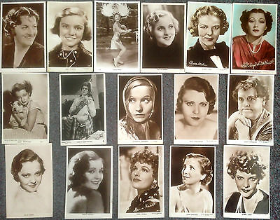Lot Of 15 Vintage Real Photo Postcards Of Actress's From 1930's