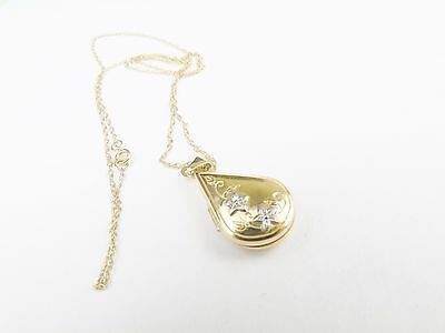 VINTAGE SOLID 9ct GOLD WHITE ROSE TEARDROP PHOTO LOCKET PENDANT AND NECKLACE