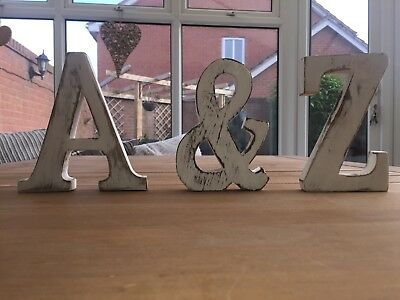 Shabby Chic Wooden Letters Large White Freestanding 15cm  Words A-Z Alphabet