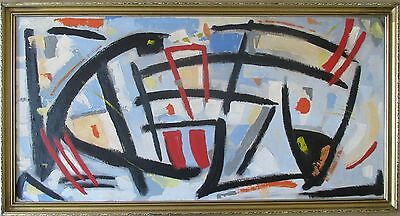 Large Abstract Oil Painting Vintage Retro Modern British Contemporary