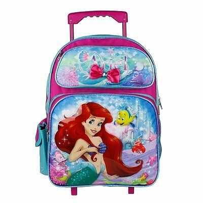 "Disney Little Mermaid Ariel 16"" Large Rolling Backpack for Girls"