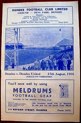 Dundee v Dundee United 1966/67 Scottish League Cup programme.