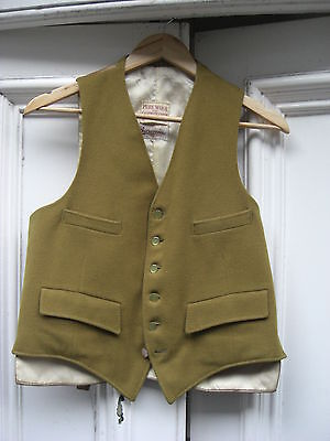 """Vintage olive green cashmere & wool country squire waistcoat fit 36-38"""" gc"""