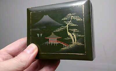 Antique chinese lacquered decorated wooden box