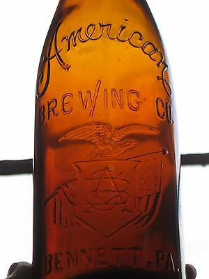 American Brewing Co Pre Prohibition Blob Top Brown Amber Beer Bottle Bennett, PA