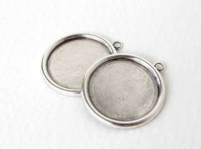 Antiqued Silver Ox Frame Setting Round Cabochon Bezel 18mm