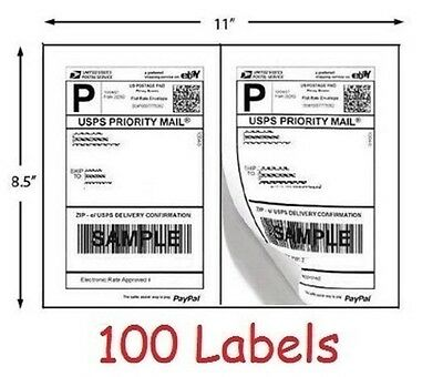 100 Shipping Labels Half Sheet Self Adhesive Print Postage with eBay PayPal USPS