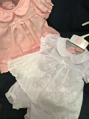Newborn Baby Girls Dress Set White or Pink with Bloomers 0-3 3-6 6-9 Months