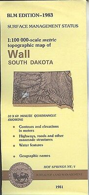USGS BLM edition topographic map WALL South Dakota 1983 HOT SPRINGS NE/4