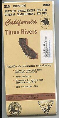 USGS BLM edition topographic map California THREE RIVERS 1980