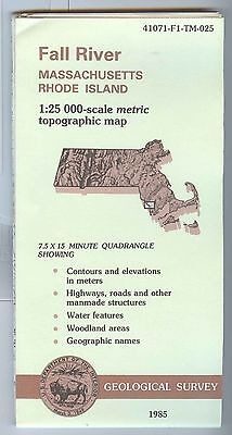 US Geological Survey topographic map metric FALL RIVER Massachusetts RI 1985