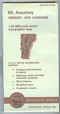 US Geological Survey topographic map metric provisional MT. ASCUTNEY VT NH 1984
