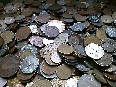 Lot of 75 + world treasure hunt foreign coins + 100 year old & silver coin #75-1