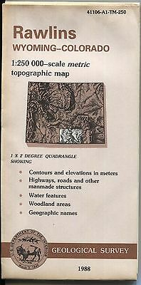 US Geological Survey topographic map metric WY CO RAWLINS 1988