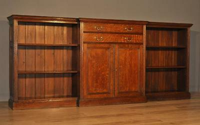Attractive Large Antique Victorian Oak Bookcase Cabinet With Cupboards & Drawers