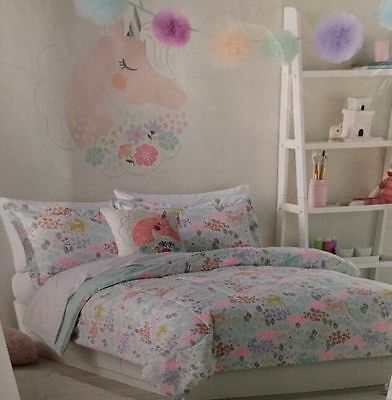 New Jumping Beans Unicorn Enchanted Garden (Twin 5 Piece Bed In A Bag)