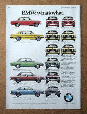 Bmw - What's What - 1975 Original Advert Poster Free Uk P&p